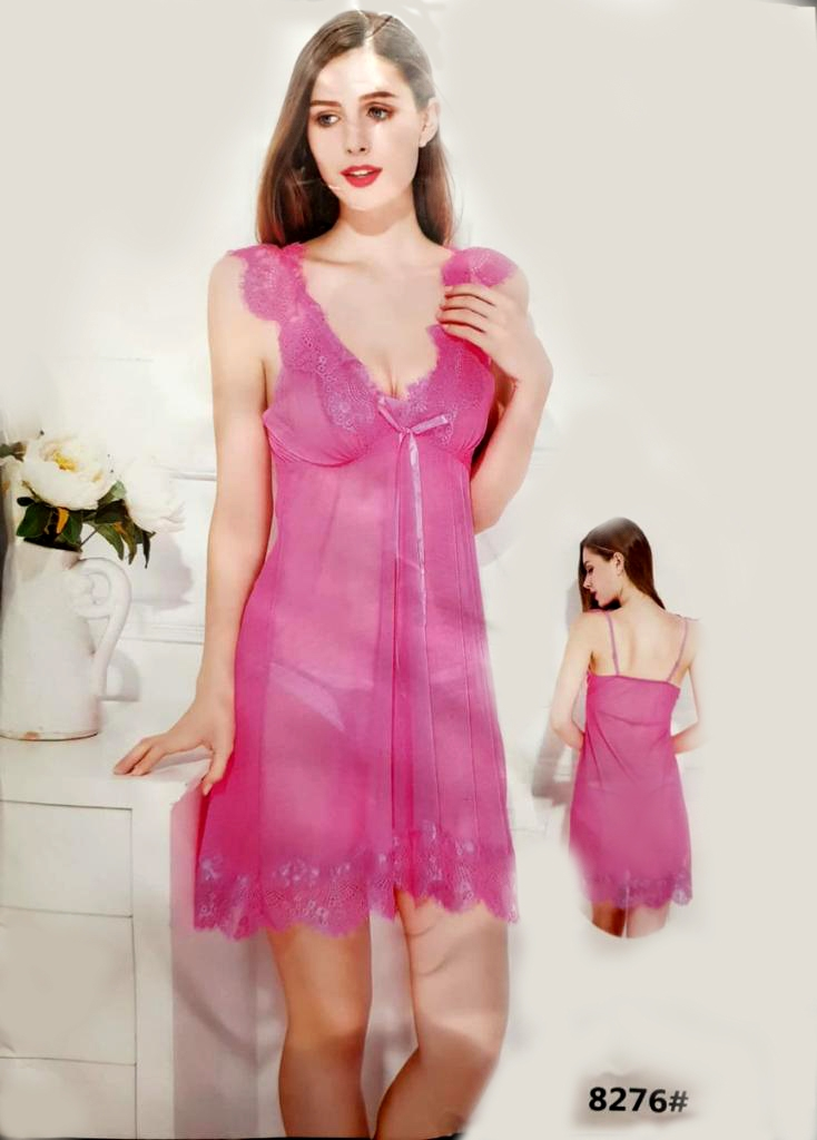 Pink Short Hot Sleeveless Fashion Robe Sexy Nighty Women 8276 Shoptora Pk